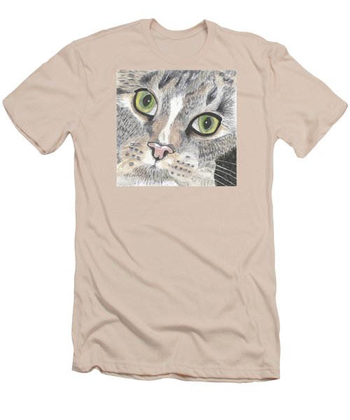Men's T-Shirt (Slim Fit) featuring the drawing Green Eyes by Arlene Crafton