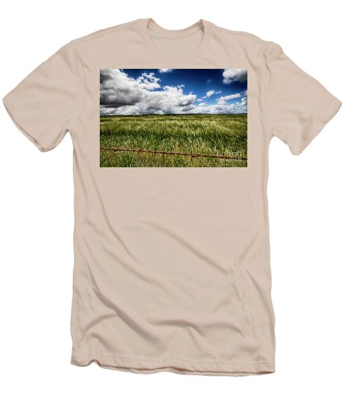 Green Fields Men's T-Shirt (Slim Fit) by Douglas Barnard