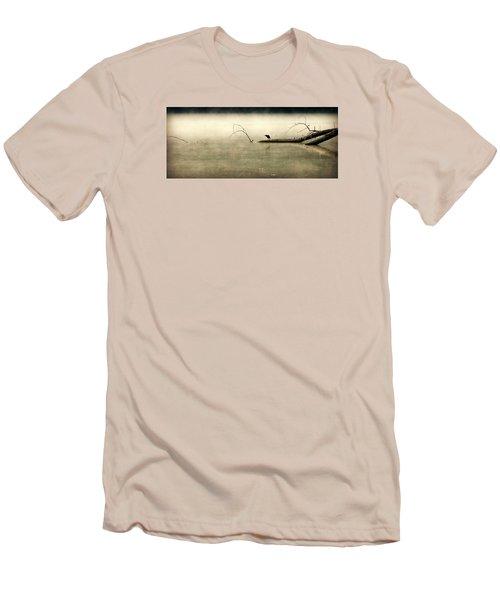 Green Heron In Dawn Mist Men's T-Shirt (Slim Fit) by Kathy Barney