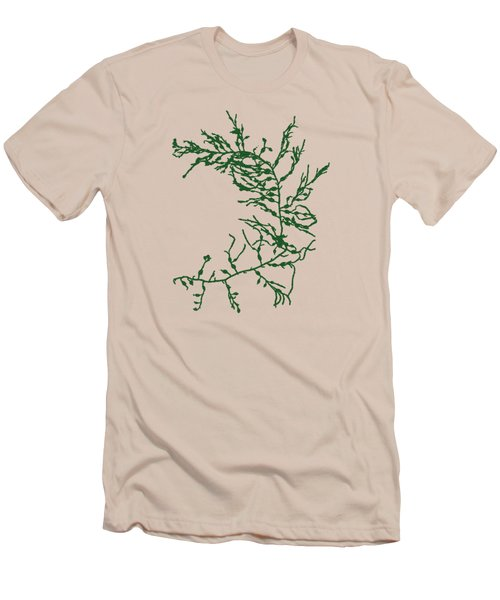 Men's T-Shirt (Slim Fit) featuring the mixed media Green Seaweed Art Cystoseira Fibrosa by Christina Rollo