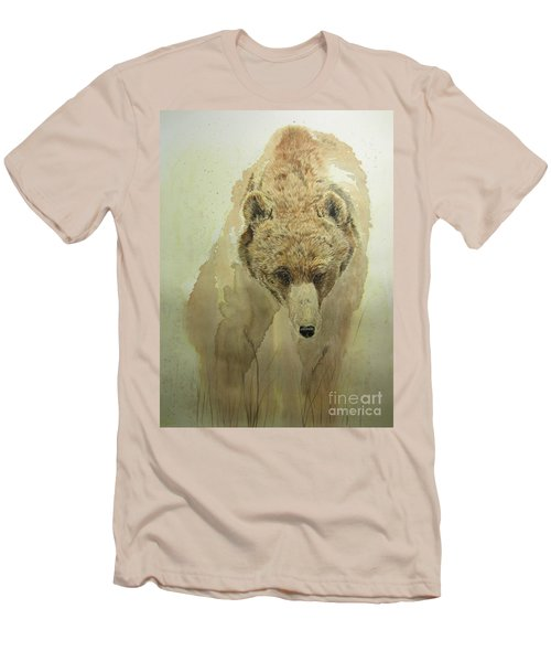 Men's T-Shirt (Slim Fit) featuring the painting Grizzly Bear1 by Laurianna Taylor