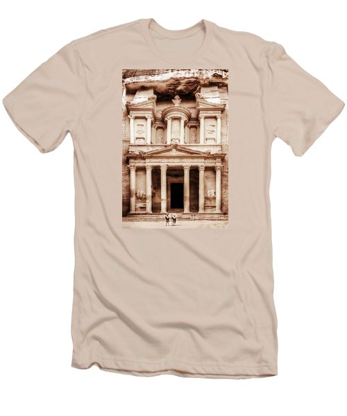 Men's T-Shirt (Slim Fit) featuring the photograph Guarding The Petra Treasury by Nicola Nobile