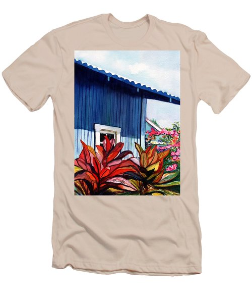 Men's T-Shirt (Slim Fit) featuring the painting Hanapepe Town by Marionette Taboniar
