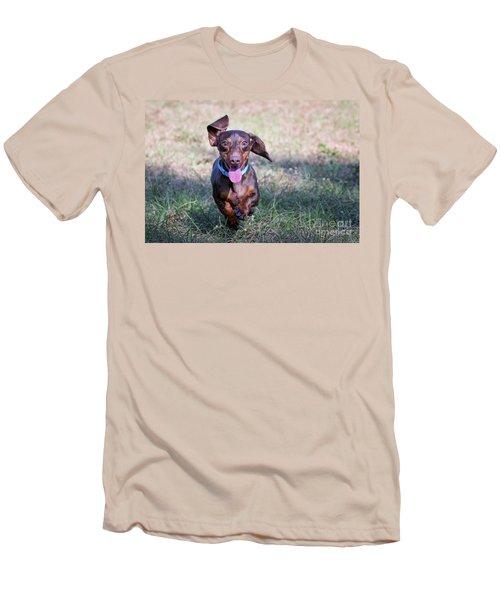 Happy Dachshund Men's T-Shirt (Slim Fit) by Stephanie Hayes