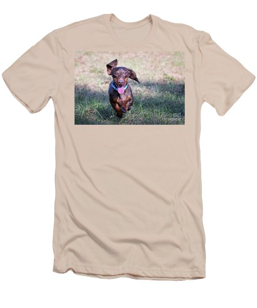 Happy Dachshund Men's T-Shirt (Athletic Fit)