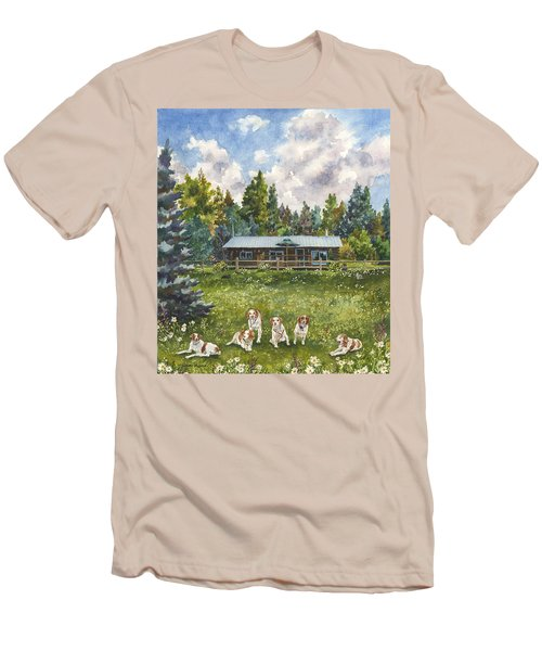 Men's T-Shirt (Slim Fit) featuring the painting Happy Dogs by Anne Gifford