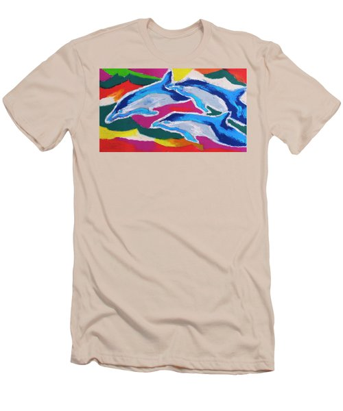 Happy Dolphin Dance Men's T-Shirt (Slim Fit) by Stephen Anderson