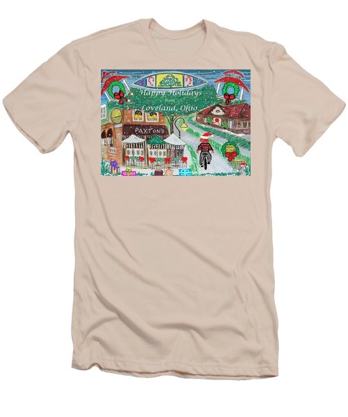 Men's T-Shirt (Slim Fit) featuring the painting Happy Holidays From Loveland, Ohio by Diane Pape