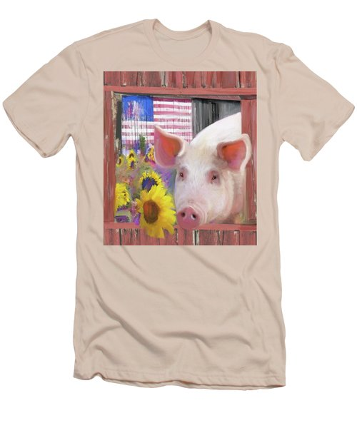 Happy Pig  Men's T-Shirt (Athletic Fit)