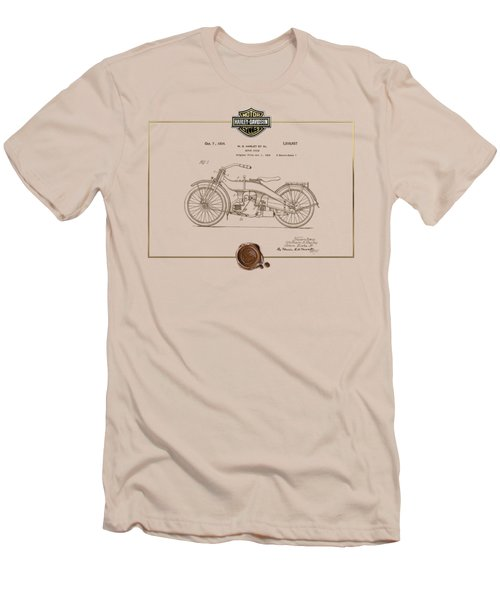 Men's T-Shirt (Slim Fit) featuring the digital art Harley-davidson 1924 Vintage Patent Document  by Serge Averbukh