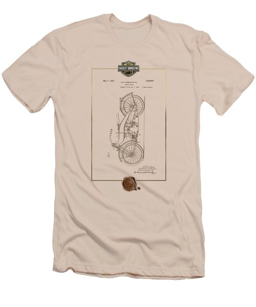 Men's T-Shirt (Slim Fit) featuring the digital art Harley-davidson 1924 Vintage Patent Document With 3d Badge by Serge Averbukh