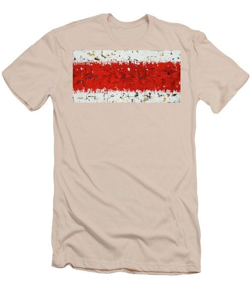Men's T-Shirt (Slim Fit) featuring the painting Hashtag Red - Abstract Art by Carmen Guedez