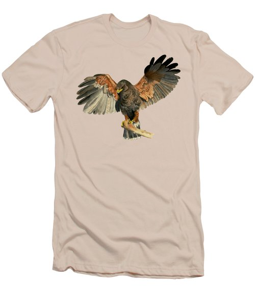 Hawk Flapping Wings Watercolor Painting Men's T-Shirt (Athletic Fit)
