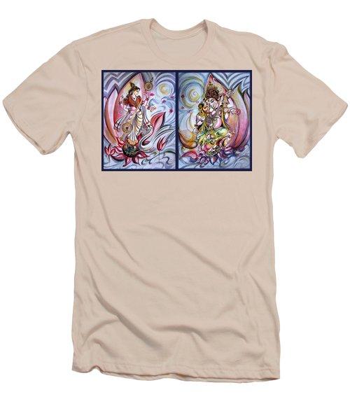 Healing Art - Musical Ganesha And Saraswati Men's T-Shirt (Athletic Fit)