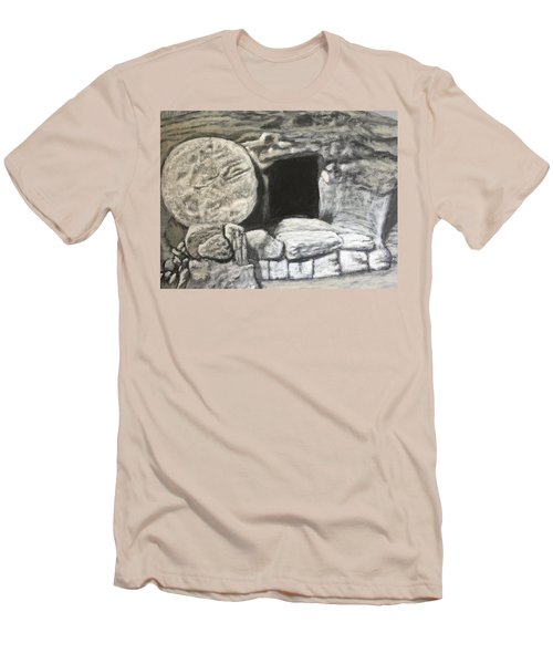 Men's T-Shirt (Athletic Fit) featuring the painting He's Not Here by Antonio Romero
