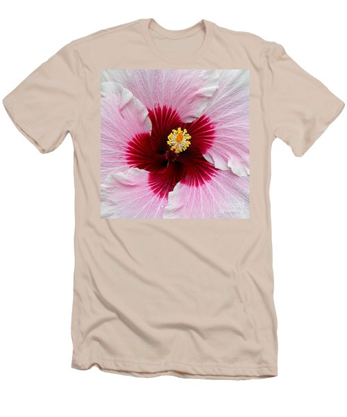 Hibiscus With Cherry-red Center Men's T-Shirt (Slim Fit) by Susan Wiedmann
