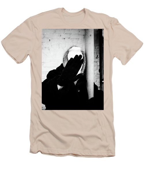 Men's T-Shirt (Athletic Fit) featuring the photograph Hidden Woman In Black Fur by John Williams