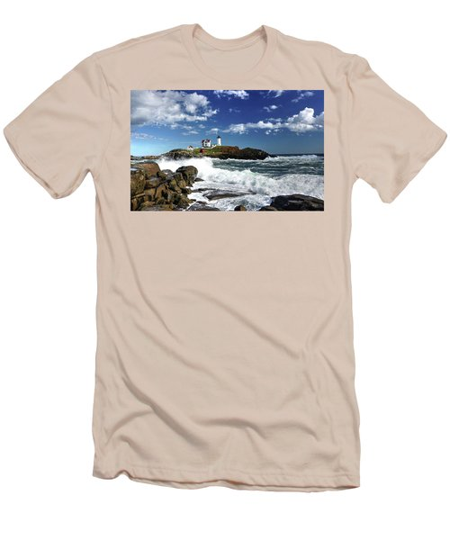 High Surf At Nubble Light Men's T-Shirt (Athletic Fit)