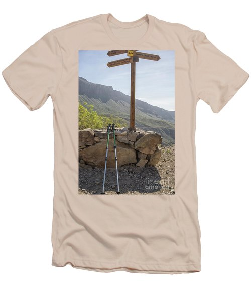 Hiking Poles Resting Near Sign Men's T-Shirt (Slim Fit) by Patricia Hofmeester