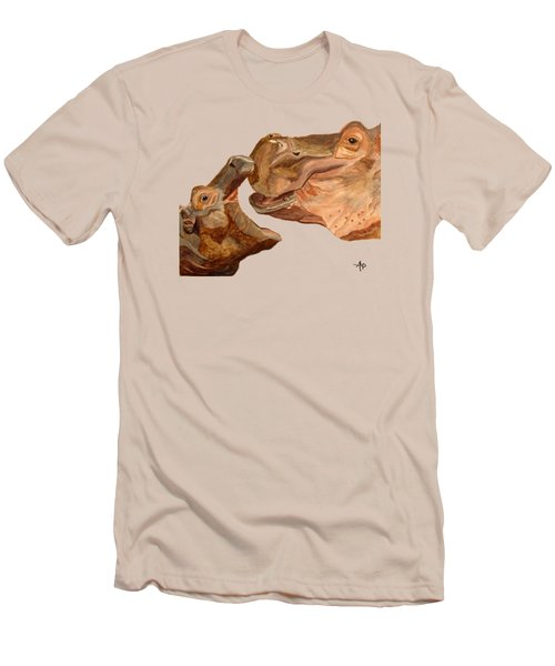 Hippos Men's T-Shirt (Slim Fit) by Angeles M Pomata