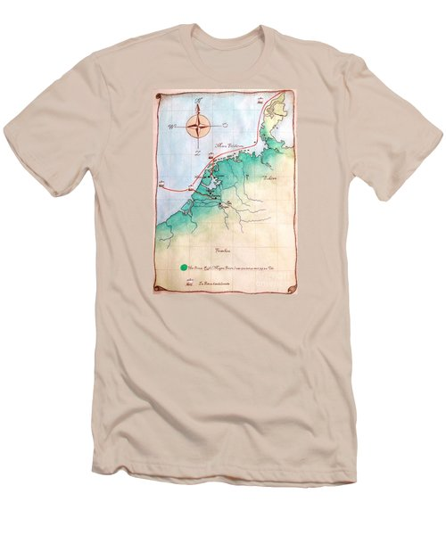 Men's T-Shirt (Slim Fit) featuring the painting Magna Frisia- Frisian Kingdom by Annemeet Hasidi- van der Leij