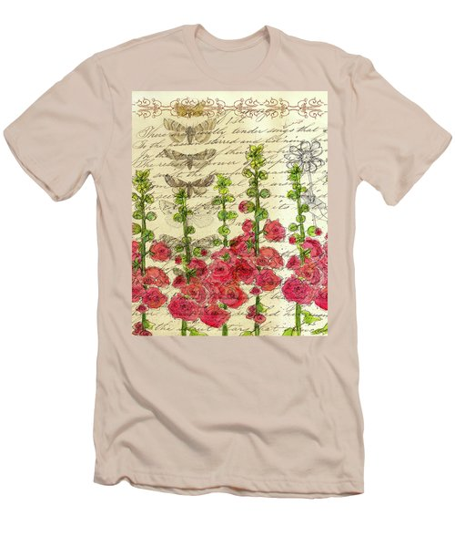 Men's T-Shirt (Slim Fit) featuring the drawing Hollyhocks And Butterflies  by Cathie Richardson