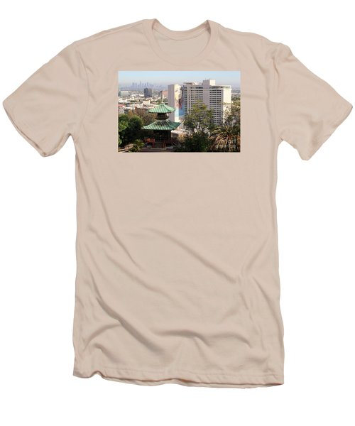 Hollywood View From Japanese Gardens Men's T-Shirt (Slim Fit) by Cheryl Del Toro