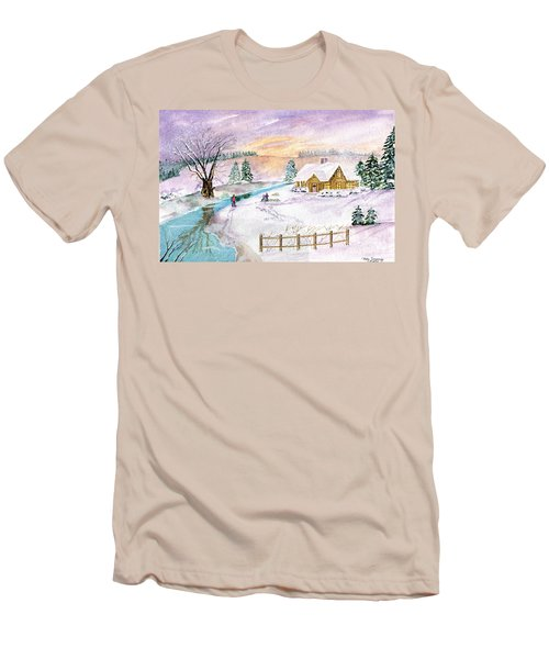 Men's T-Shirt (Slim Fit) featuring the painting Home For Christmas by Melly Terpening