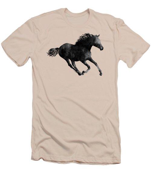 Horse Running In Black And White Men's T-Shirt (Slim Fit) by Hailey E Herrera