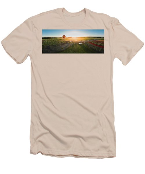 Men's T-Shirt (Athletic Fit) featuring the photograph Hot Air Balloon Taking Off At Sunrise by William Lee