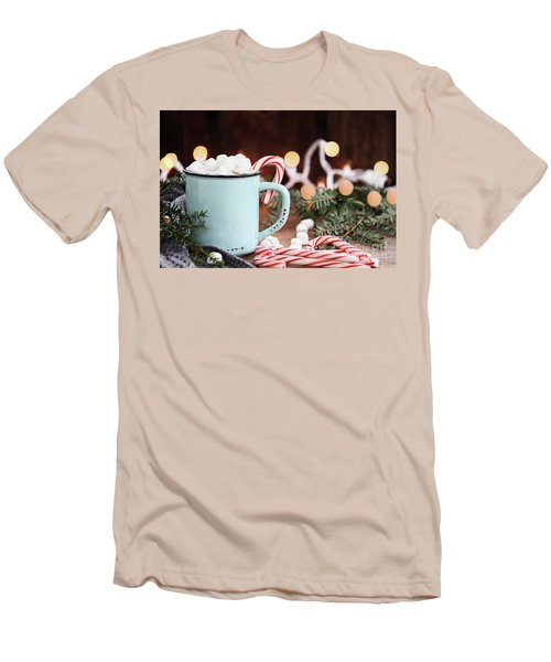 Hot Cocoa With Marshmallows And Candy Canes Men's T-Shirt (Slim Fit) by Stephanie Frey