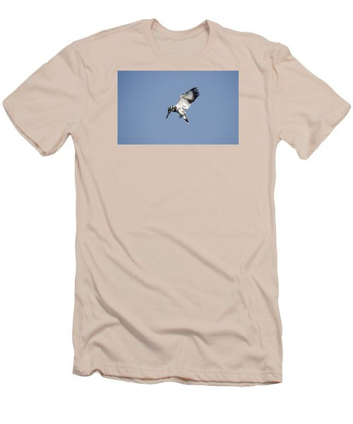 Hovering Of White Pied Kingfisher Men's T-Shirt (Slim Fit) by Manjot Singh Sachdeva