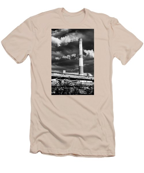 Huge Industrial Chimney And Smoke In Black And White Men's T-Shirt (Slim Fit) by John Williams