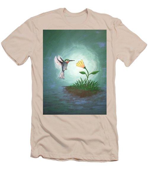 Men's T-Shirt (Slim Fit) featuring the painting Hummingbird II by Antonio Romero