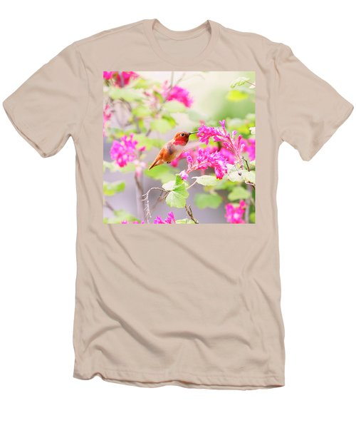 Hummingbird In Spring Men's T-Shirt (Slim Fit) by Peggy Collins