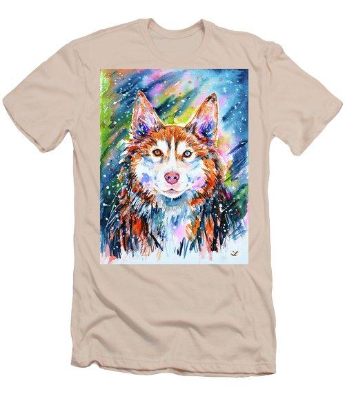 Men's T-Shirt (Slim Fit) featuring the painting Husky by Zaira Dzhaubaeva