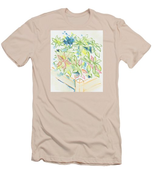 Hydrangea Plant Growing Out Of A Square Wooden Planter Men's T-Shirt (Athletic Fit)