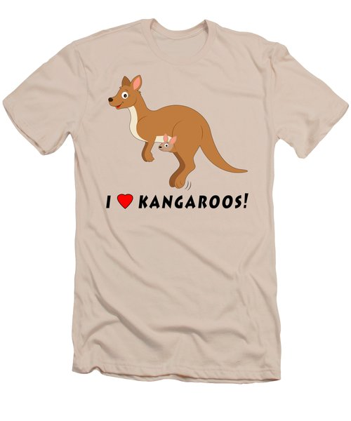 I Love Kangaroos Men's T-Shirt (Slim Fit) by A
