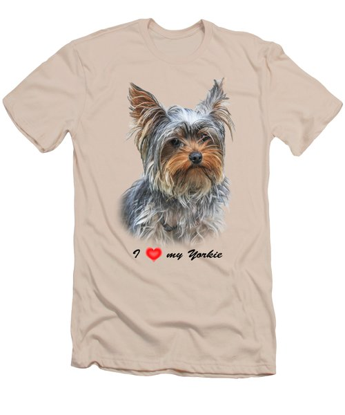 I Love My Yorkie 01 Men's T-Shirt (Slim Fit) by Jivko Nakev