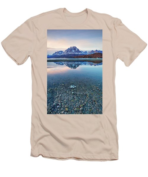 Men's T-Shirt (Slim Fit) featuring the photograph Icebergs And Mountains Of Torres Del Paine National Park by Phyllis Peterson