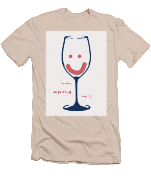 Men's T-Shirt (Slim Fit) featuring the drawing In Vino So Fucking Veritas by Frank Tschakert