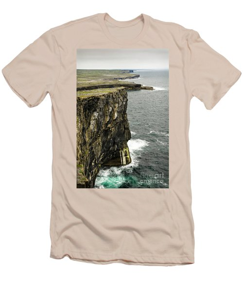 Men's T-Shirt (Slim Fit) featuring the photograph Inishmore Cliffs And Karst Landscape From Dun Aengus by RicardMN Photography