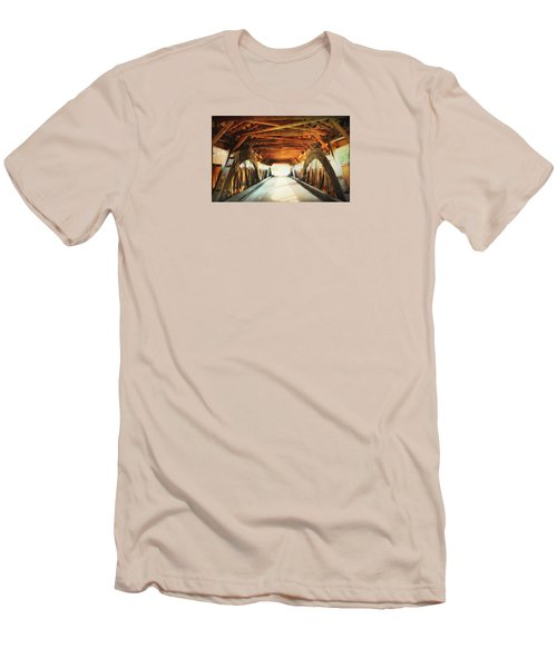 Men's T-Shirt (Slim Fit) featuring the photograph Inside A Covered Bridge by Robin Regan