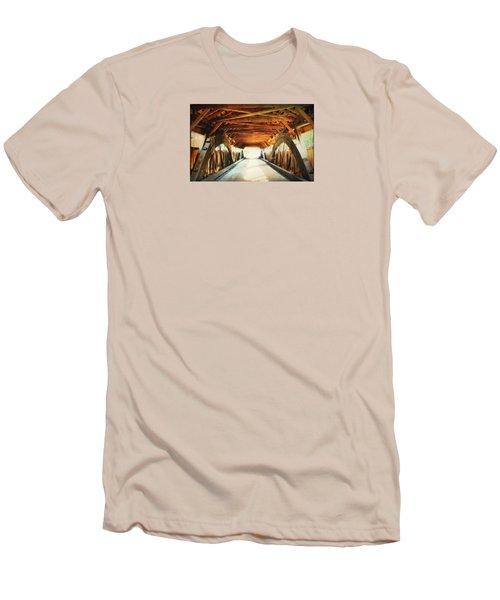 Inside A Covered Bridge Men's T-Shirt (Slim Fit) by Robin Regan