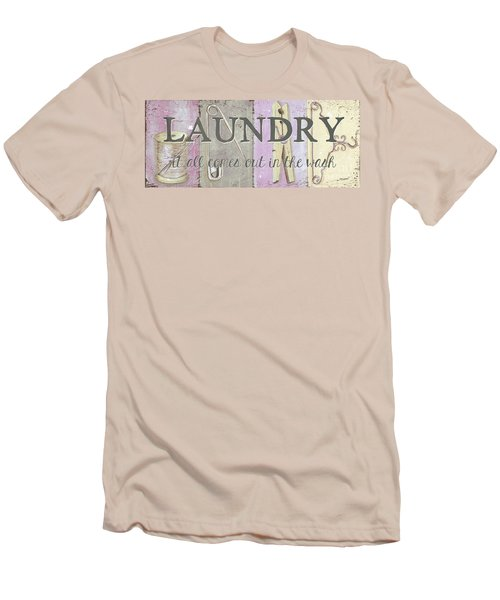 Men's T-Shirt (Slim Fit) featuring the painting It All Comes Out In The Wash by Debbie DeWitt