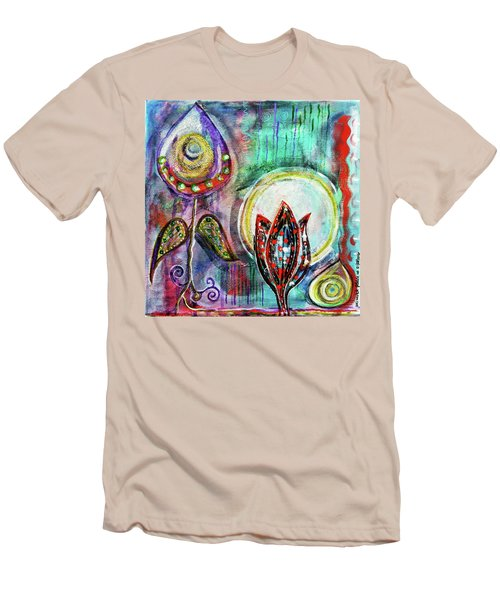 Men's T-Shirt (Slim Fit) featuring the mixed media It's Connected To The Moon by Mimulux patricia no No
