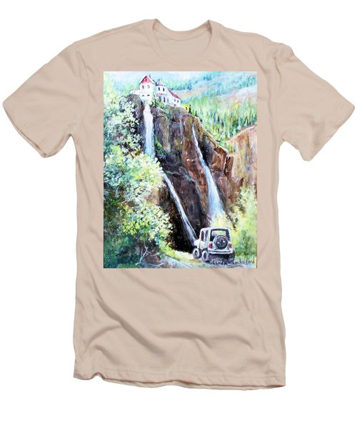 Men's T-Shirt (Slim Fit) featuring the painting Jeeping At Bridal Falls  by Linda Shackelford