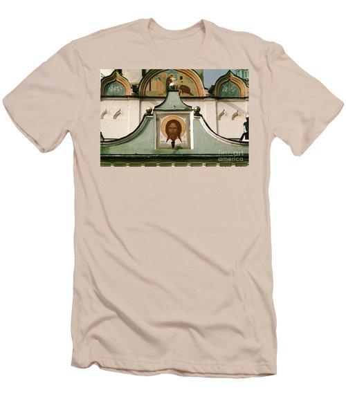 Jesus Icon Trinity Lavra Of St. Sergius Monastery In Sergiev Posad Men's T-Shirt (Slim Fit) by Wernher Krutein