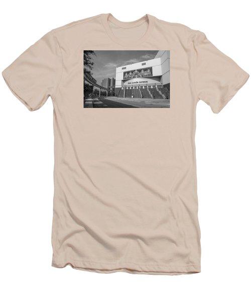 Joe Louis Arena Black And White  Men's T-Shirt (Slim Fit) by John McGraw