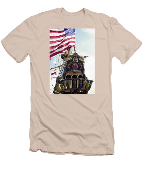 Kalmar Nyckel Tall Ship Men's T-Shirt (Slim Fit) by Sally Weigand